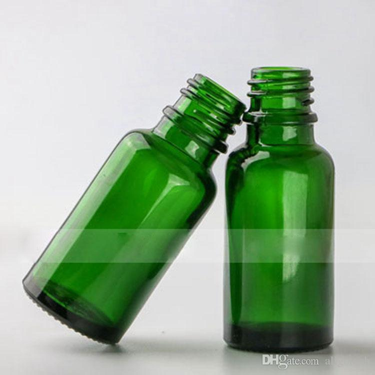 Wholesale 20ml Glass Liquid Pipette Bottles 20 ml Green Eye Dropper Oil Drop Bottles Aromatherapy Packing Bottles 5 Caps to choose