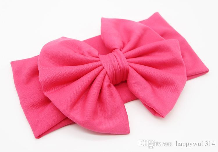 Accessoires pour cheveux de bébé 5 pouces Big Bows Bandeaux pour les filles Infant Twist noeud Super Stretch Head Wrap Toddler Coton Polyester Bandeaux