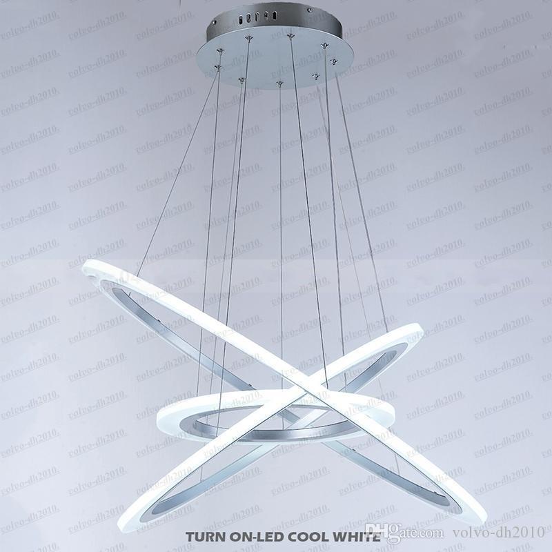 디 밍이 가능한 아크릴 펜 던 트 조명 LED 샹들리에 3 반지 D406080CM 60W AC100 240V CE FCC ROHS LLFA11