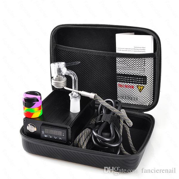 Quartz E Dab Kit Caixa Prego Electic 14 18 MM Feminino Masculino Prego De Quartzo Elétrica Prego Dab Completa Controlador de Temperatura 100 w Ferramentas Dabber
