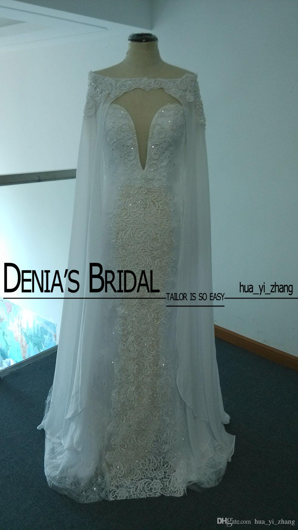 Mermaid Lace Wedding Gowns 2015 with Detachable Cape and Sheer Long Sleeves Sexy Low V Neck and Tulle Back with Covered Buttons