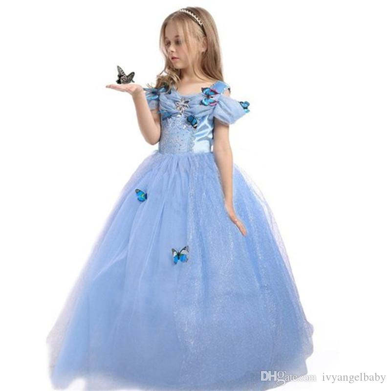 Princess Party Costume Dress Enfants Enfants Filles Maxi Dress Bleu Papillon Fille Robes Holloween Cosplay De Noël