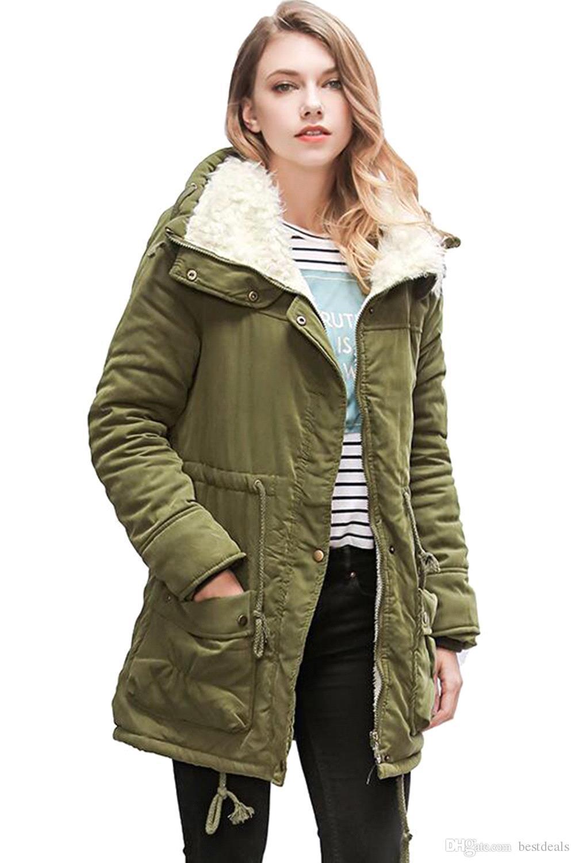 2017 Exército Verde Jaqueta de Inverno Mulheres Novo Inverno Das Mulheres Parka Casaco Outwear Casaco De Pele Das Mulheres Casuais Femme Manteau Mulher Roupas FS1915