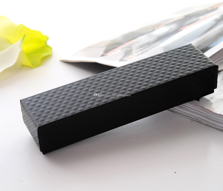 [Simple Seven] Classique Collier Motif Diamant Noir Boîte / Festival Bijoux Bracelet Emballage / Tendance Paquet Pédant / Cadeau Long Etui