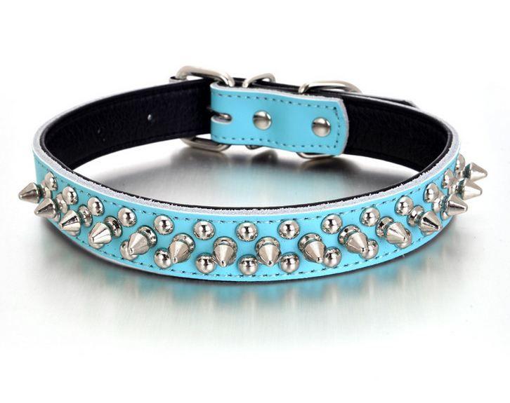 1 inch Spiked Studded Dog Collars Real Leather Dog Collar Pet Collar Multi Colors Gratis verzending