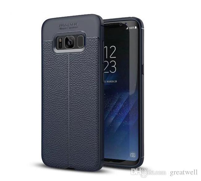 Affaires Litchi cuir Texture souple en silicone pour iPhone Cas de téléphone 11Pro Max XS XR 8 7 6S plus Samsung S8 S9 S10e plus Note 10 Pro HuaWei