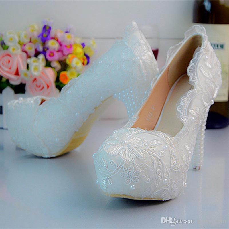 Cor branca Rendas Flor Plataforma de Salto Alto Nupcial Sapatos de Festa de Casamento Das Mulheres Do Partido Sapatos de Baile Plus Size 11 12 Sapatas Da Dama de Honra