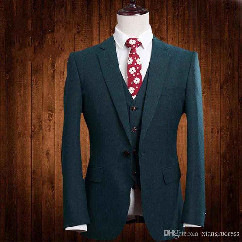 2018 Paisley tuxedos Wool Herringbone wedding suits for men British style custom made Mens suit slim fit BlazerSuit+Pant
