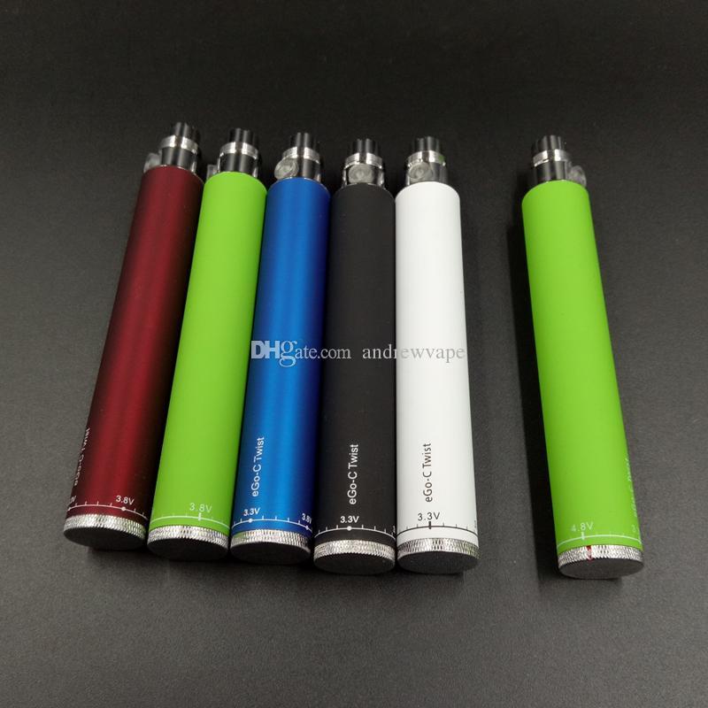 Ego-ctwist Vape Battery Ajustável Tensão 510 Tópico para Carrinhos de Atomizer CE4 EGO Baterias 650mAh 900mAh 1100mAh
