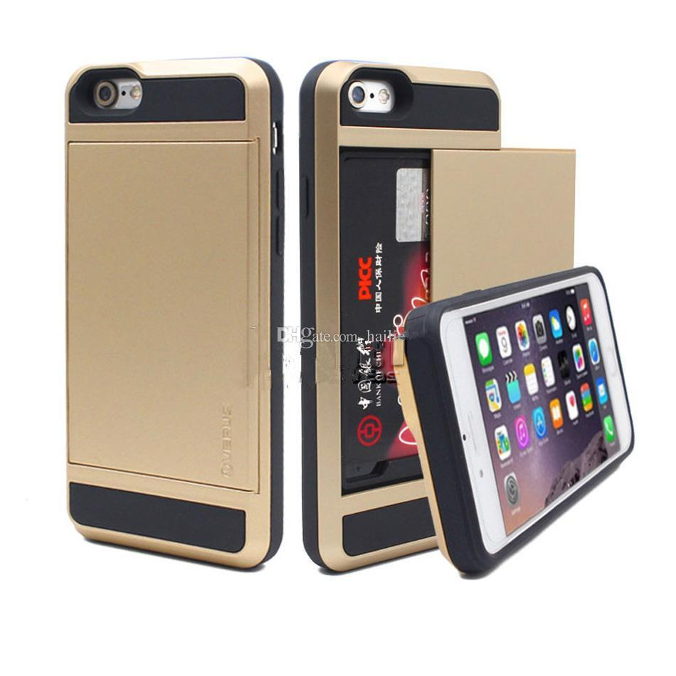 Для iPhone 8 Чехол для Iphone 7 Гибридный броня Чехол Двухслойная карта Slides Чехол для Samsung Galaxy S8 Note 8 OPP