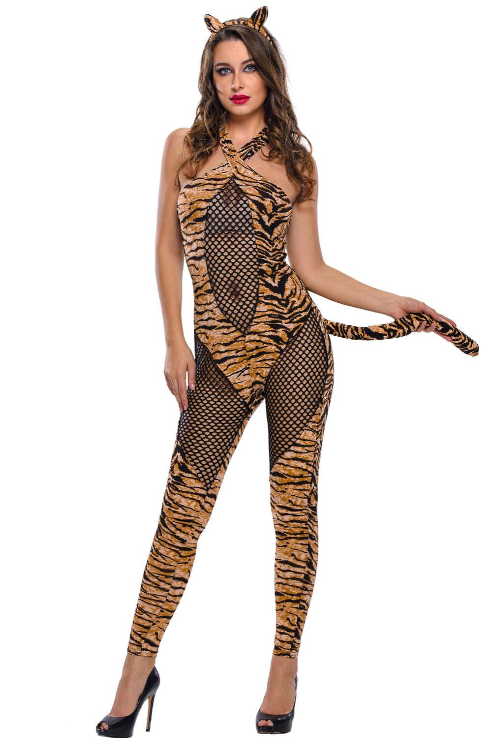 ddd9e23e6 Women Sexy Adult Tiger Costume Set 2016 Halloween Costumes Cosplay Fancy  Party Carnival Roleplay Sexy Cos Exotic Fairy Tales Group Halloween Costumes  For 3 ...