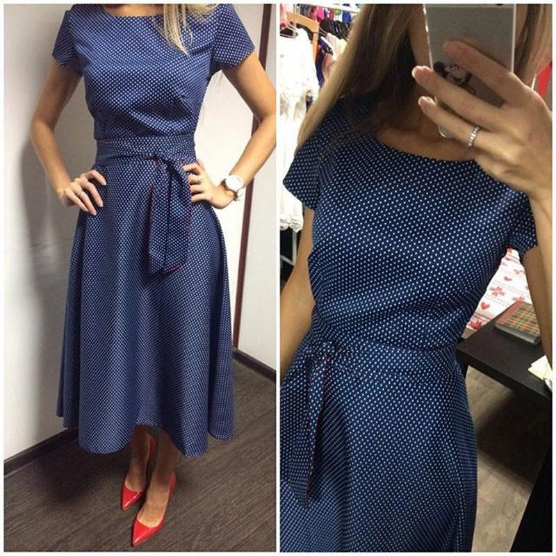 2016 Hot Sale Casual A-Line Dot Women Popular Dress Short Sleeve O-Neck Knee-Length Dress Summer Style Sashes Clothes Party Plus size S-XXL
