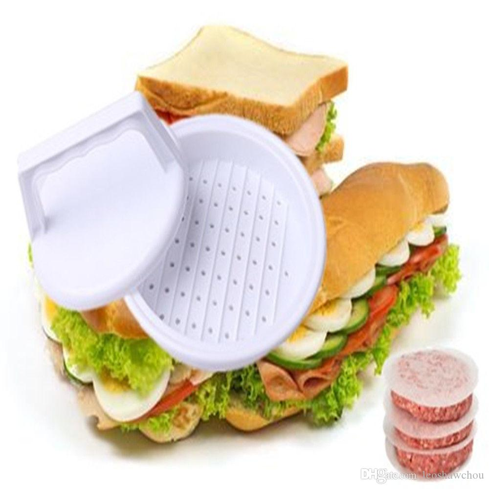 Portátiles de bricolaje de plástico Hamburguesa Carne compactador Presione el molde de Burger Grill fabricante de limpieza fácil antiadherente ayudante de la cocina utensilios de cocina