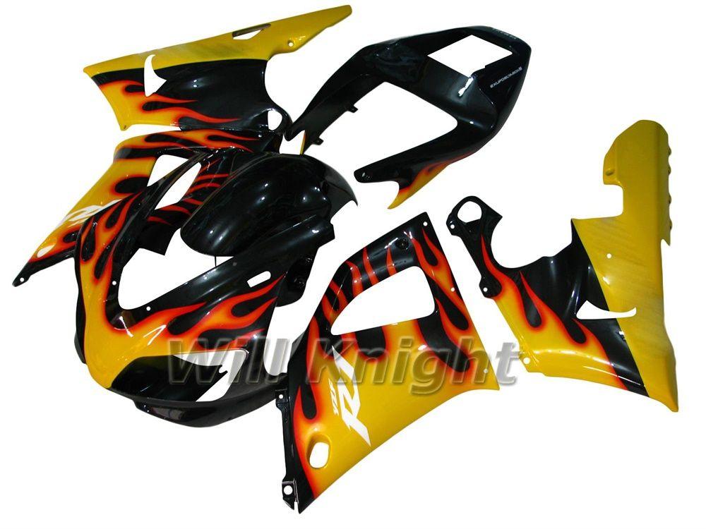 Комплект для литья рамы мотоцикла для полного обтекателя YZF1000 YZF R1 1998 1999 Желтый черный обтекатель с пламенем