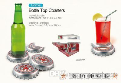 Atacado criativo 4 pçs / set Utensílios de Cozinha tampa de garrafa de Cerveja Projeto Coaster tampa de garrafa de cerveja Coasters tapete de banho Isolamento pad diâmetro 11 cm
