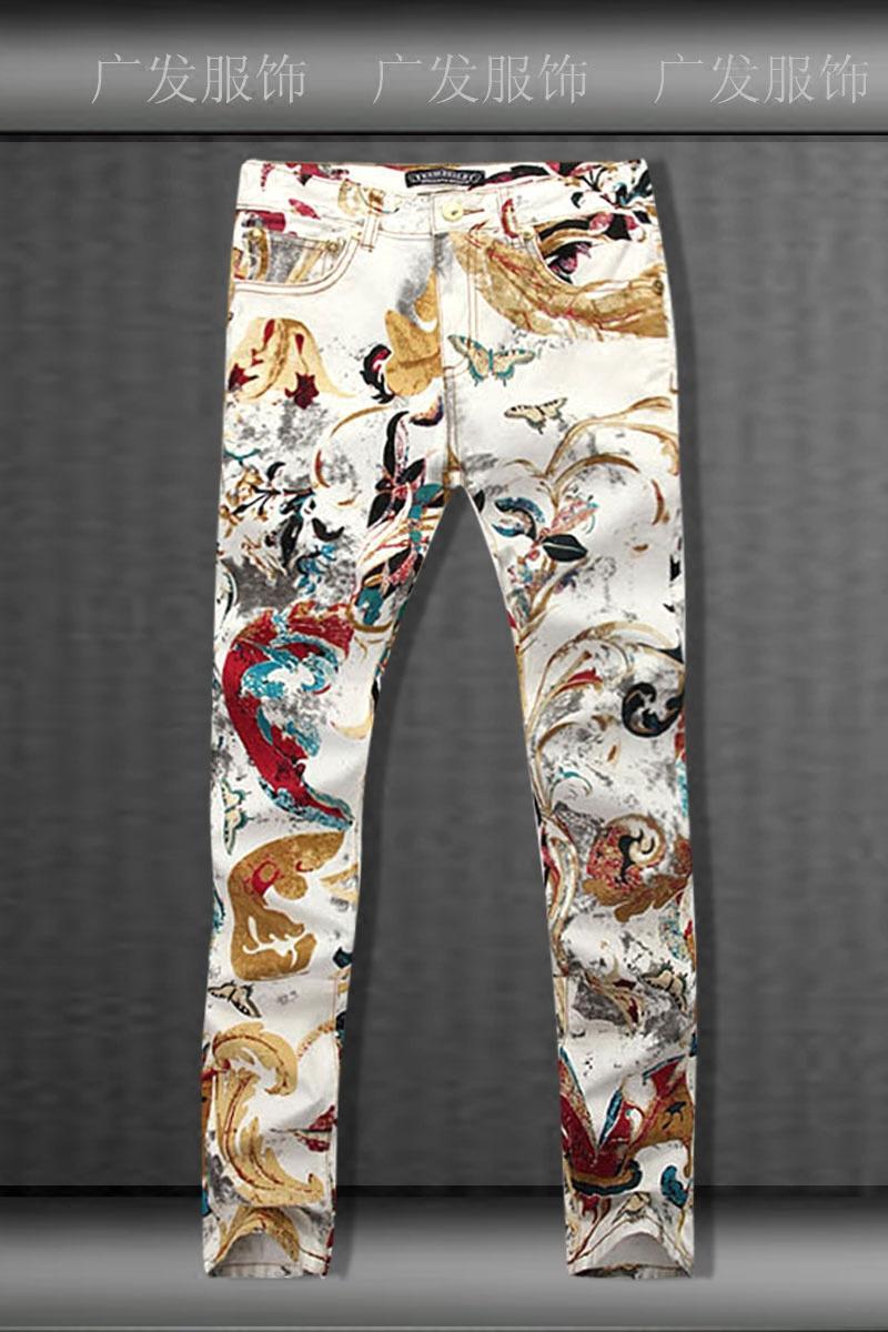 All'ingrosso- nuova farfalla pittura a olio cravatta tinta denim jeans gli uomini, lavato casual slim stampa farfalla jeans uomo, taglia 28-36,