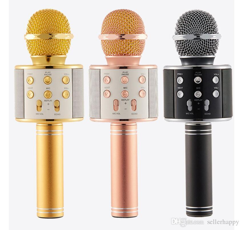 WS-858 Wireless Speaker Microphone Portable Karaoke Hifi Bluetooth Player for iphone 6 6s 7 ipad Samsung Tablets PC
