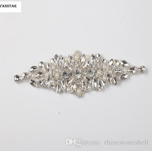 0c46b0667d 1 PIECE Sliver Beaded Rhinestone Pearl with Crystals for Wedding Belt by  Sewing Iron Embroidery Patches Appliques L29