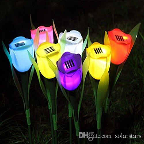 Solarstars Solar powered Solar Energy LED Garden Lamp Outdoor Courtyard Colourful Flower Tulip Landscaping Lawns and Grasses 1 pack