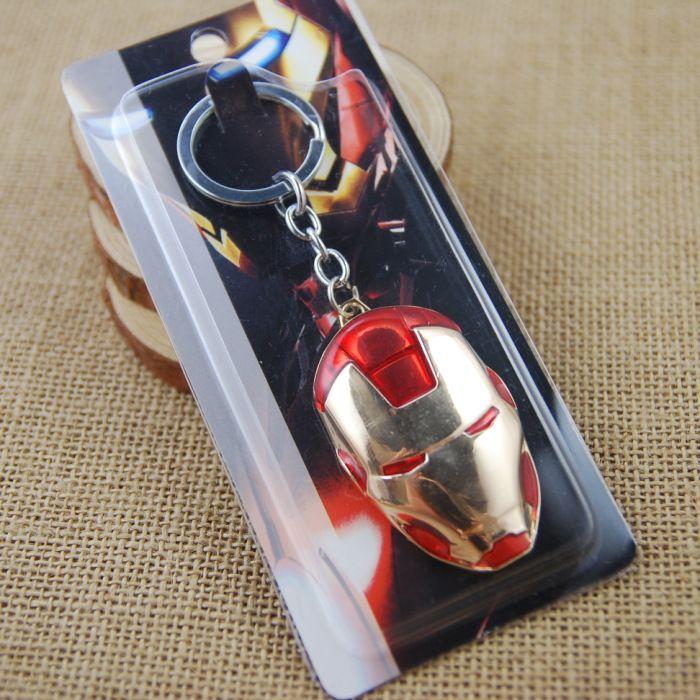 Free DHL Iron Man Mask Zinc Alloy EDC Key Chain Metal Keychain Action Figure Movie Toy Pendant Keyring K19E