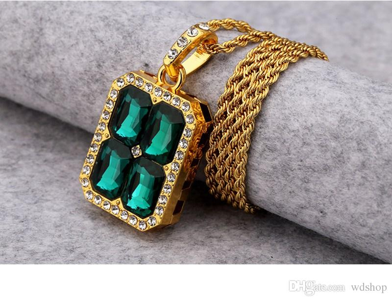 Gem Splicing Pendant Necklace Paved Clear Rhinestone Hip Hop Style Red/Green/Blue/Black/White Crystal Bling Bling Jewelry