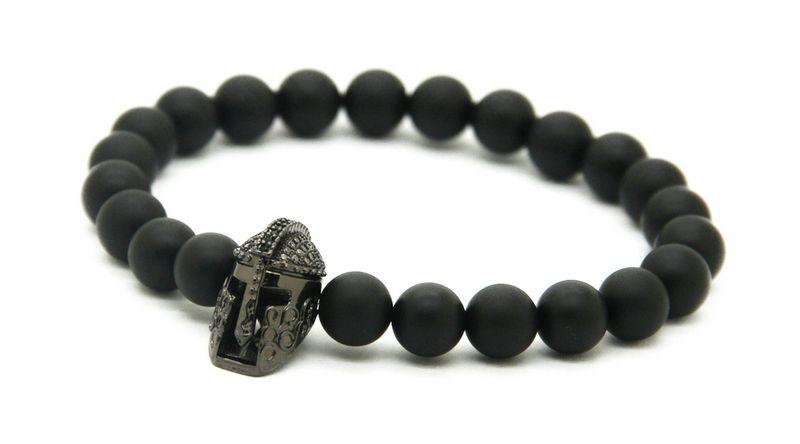 Wholesale 8mm Black Matte Agate Stone with New Fashion Roman Warrior Helmet Micro Pave Black CZ Spartans Bracelets
