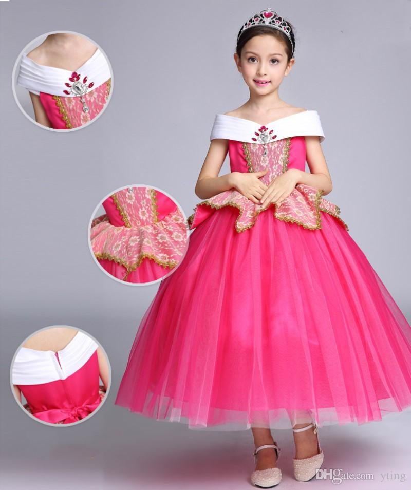 2017 halloween kids dress cosplay princess aurora slash neck children skirts party girl clothing pink yellow dhl free halloween themes for office adult - 2017 Halloween Themes
