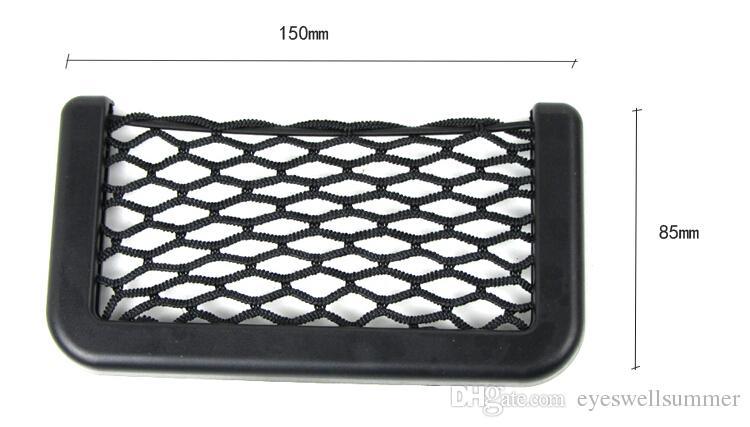 Yeni Siyah Araba Net Organizatör Cepler Araba Depolama Net Otomotiv Çanta Kutusu Yapıştırıcı Visor Araba Çanta Araçları Cep Telefonu Için