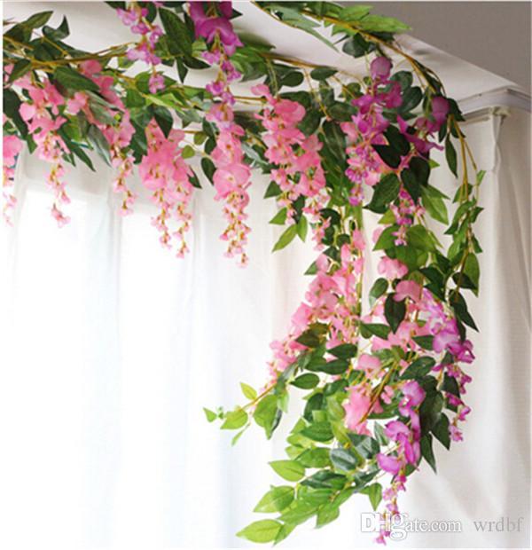 2ピース190cmの偽の藤の花の藤の絹の壁に取り付けられた花のブドウのシルク植物の布の花輪のための装飾的な花