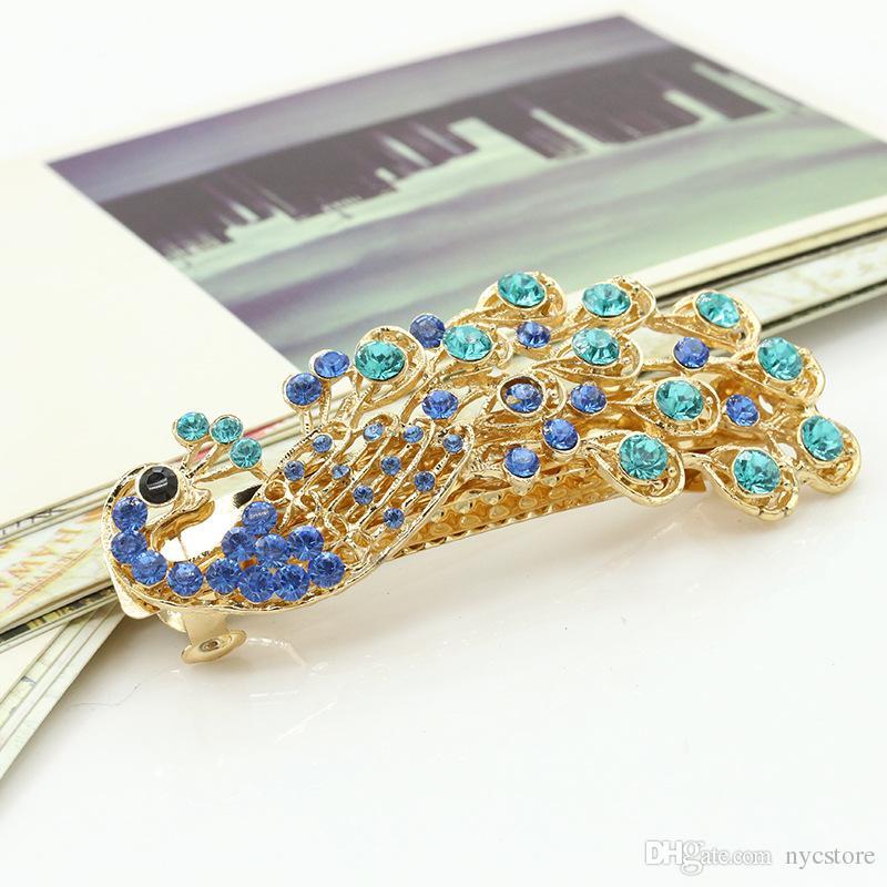 peacock crystal Tiara Crown Hair Sticks Clips Barrettes women Christmas gift gold Hair pin bobby pin Barrettes head Hair accessories jewelry