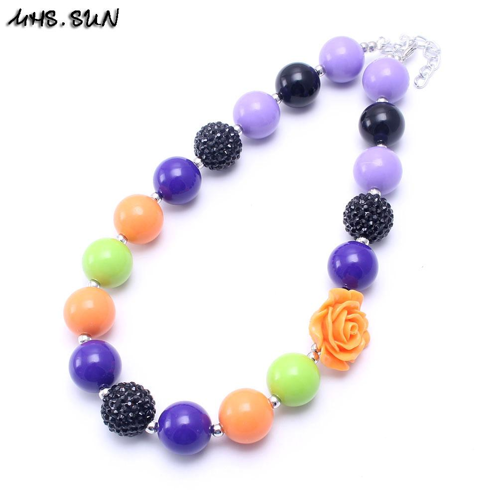 MHS.SUN Halloween Gift Kid Chunky Necklace Purple+Orange Color Toddlers Girls Bubblegum Bead Chunky Necklace Jewelry Gift For Children