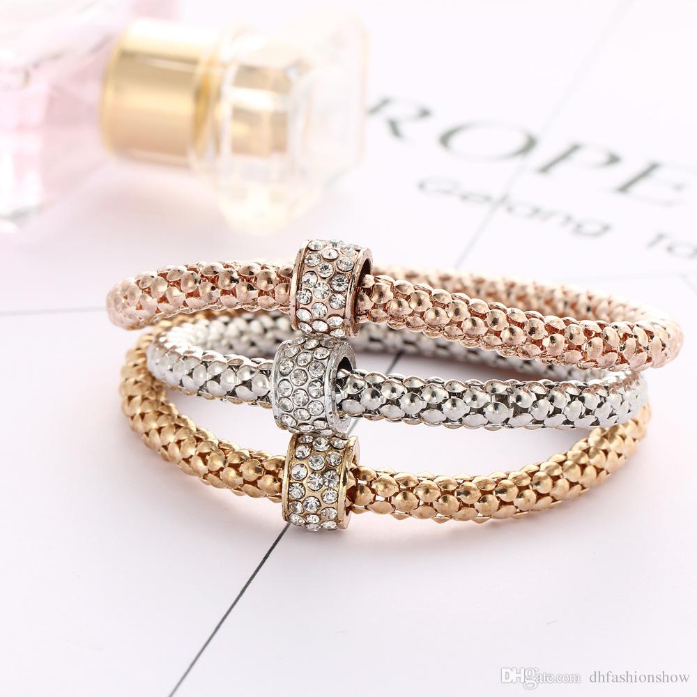 Fashion Women Shambhala Bracelet Bangles Mixed Color Elastic Stretch Bracelet Crystal Charms Popcorn Bracelet Jewelry