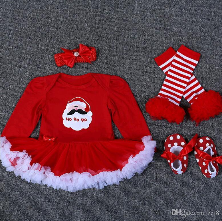 2017 New Arrival Baby Rompers Christmas Clothes Long Sleeve Jumpsuits 4pcs set Dress Stocking Shoes and Headdress For Baby Girls