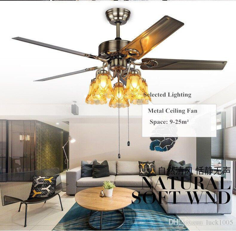 Ventilatore da soffitto da 52 pollici da 52 pollici con luci lussuose soggiorno lampadario camera da letto ristorante lampada moderna ventilatore a soffitto DHL LIBERA il trasporto