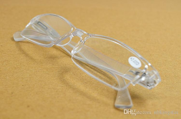 20 Pçs / lote New Retro Transparente Claro Ultra-leve Óculos De Leitura De Plástico Sem Aro Presbiopia Para Mulheres Homens Frete Grátis
