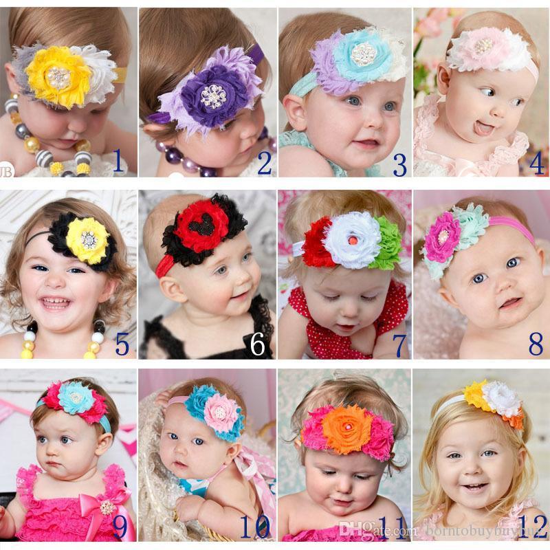 0c0443b03135 Baby Elastic Headbands with Flowers Pearls Rhinestones Girls Infant ...