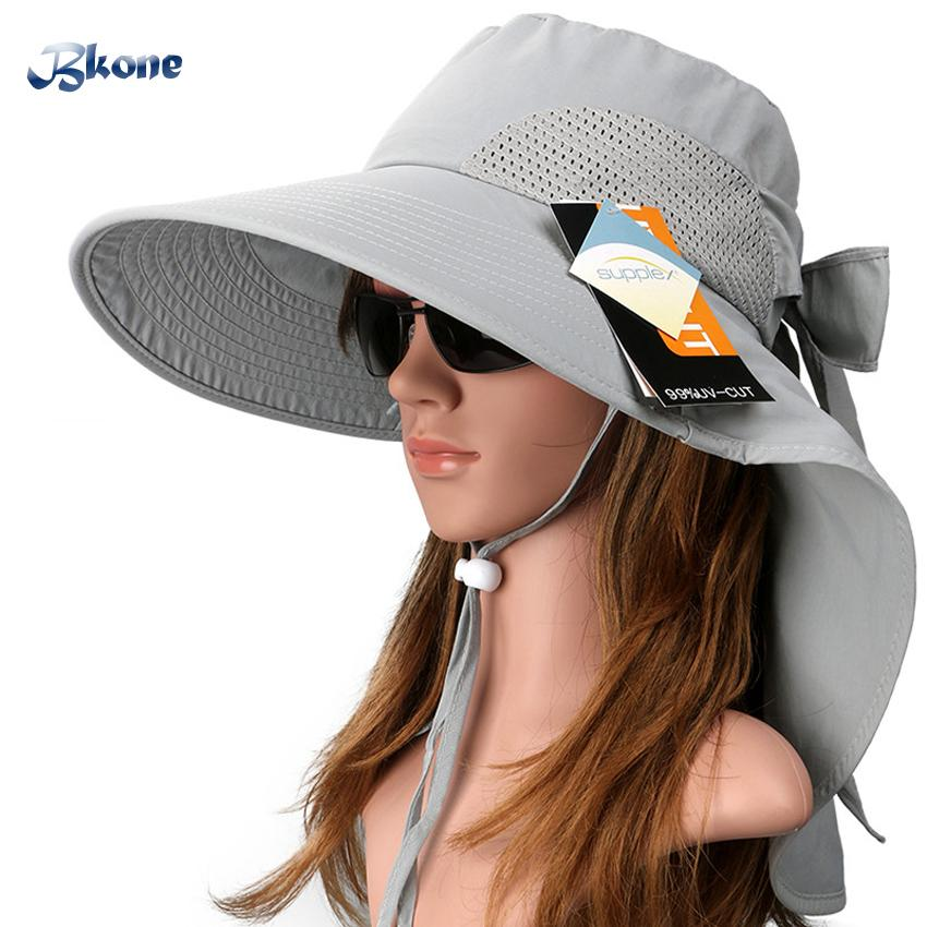 Wholesale BKONE Sun Hats Ladies Summer Wide Brim Neck Protection Anti Uv  Beach Sun Visors Foldable Alpine Caps Floral Bucket Hat Beanie Hats Winter  Hats ... e826e1a9794
