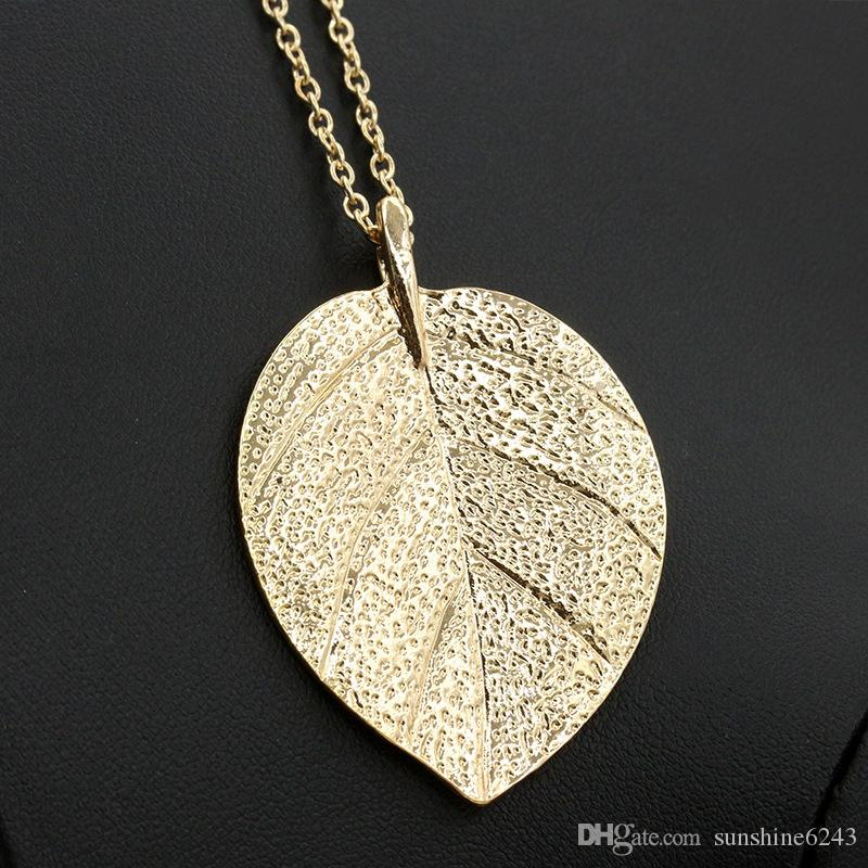 Latest Design Necklace Jewelry Cheap Costume Jewelry Gold Color Alloy Leaf Design Pendant Necklace Fashion Jewelry For Women