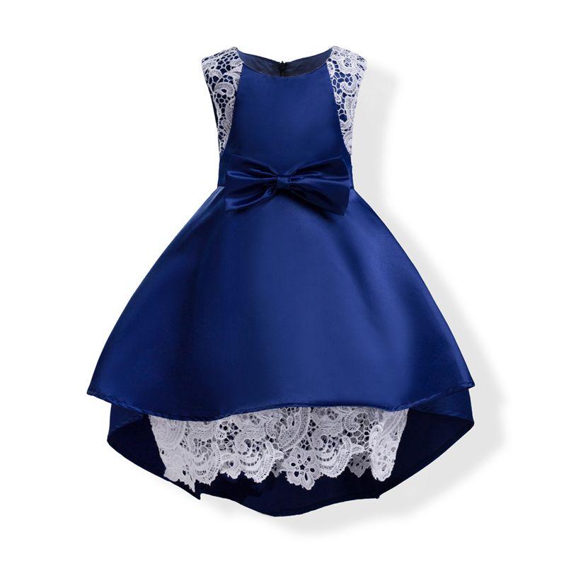 Toptan Bebek Kız Elbise Yaz Pembe Dantel Tığ Elbise 2018 Çocuk Giyim Kız Elbise Yüksek Düşük Elbise Çocuk Pamuk Astar giysi