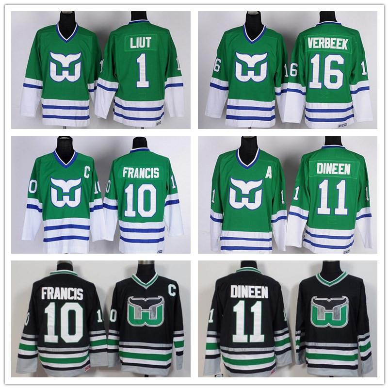 Ice Hockey Hartford Whalers Jerseys 1 Mike Liut 10 Ron Francis 11 Kevin  Dineen 16 Patrick Verbeek Team Color Green White Black UK 2019 From  Top sport mall a207f1b1900