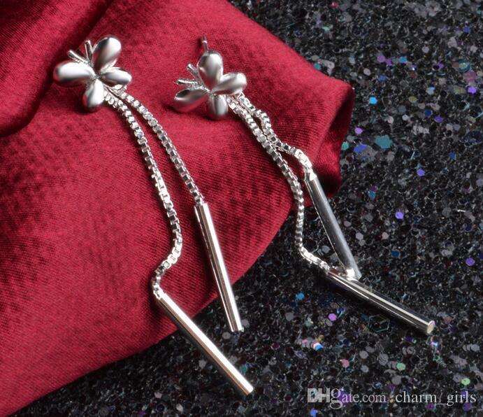 2016 mediados de septiembre nueva galjanoplastia 925 pendientes de plata para las mujeres joyería de moda encanto borlas pendientes orden mezclado 20 estilo /