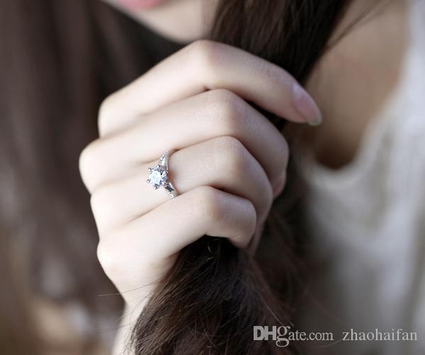 US GIA Zertifikat Weißes Gold überzogene Ringe für Frauen Hochzeit Ringe Engagement CZ Diamant Schmuck Bijoux Ring Vintage Bague Zubehör