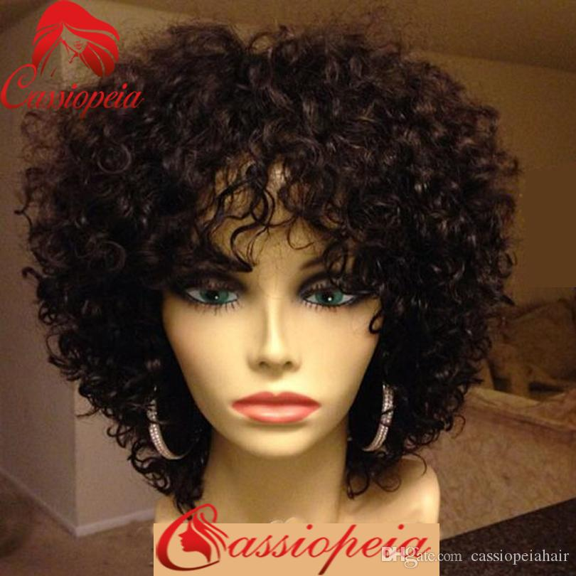 For Black Women Kinky Curly Human Hair Short Wigs with Bangs Glueless Indian Human Hair Curly Full Lace Wigs
