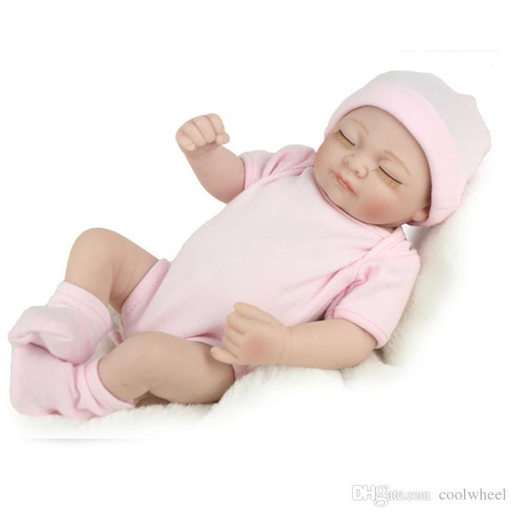 Weihnachtsgeschenke 28 cm Silikon Reborn Baby Dolly Kinder Playmate Geschenk für Mädchen Reborn Spielzeug Simulation geschlossen Augen Puppe