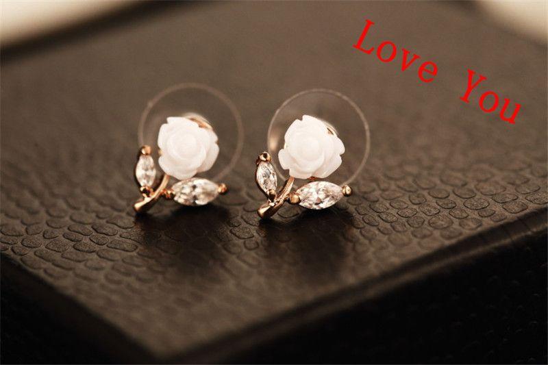 Korean-Marken-Frauen-Ohrringe arbeiten Zircon-Blumen-Bolzen-Ohrringe 18K Gold überzog Schmuck Accessoires