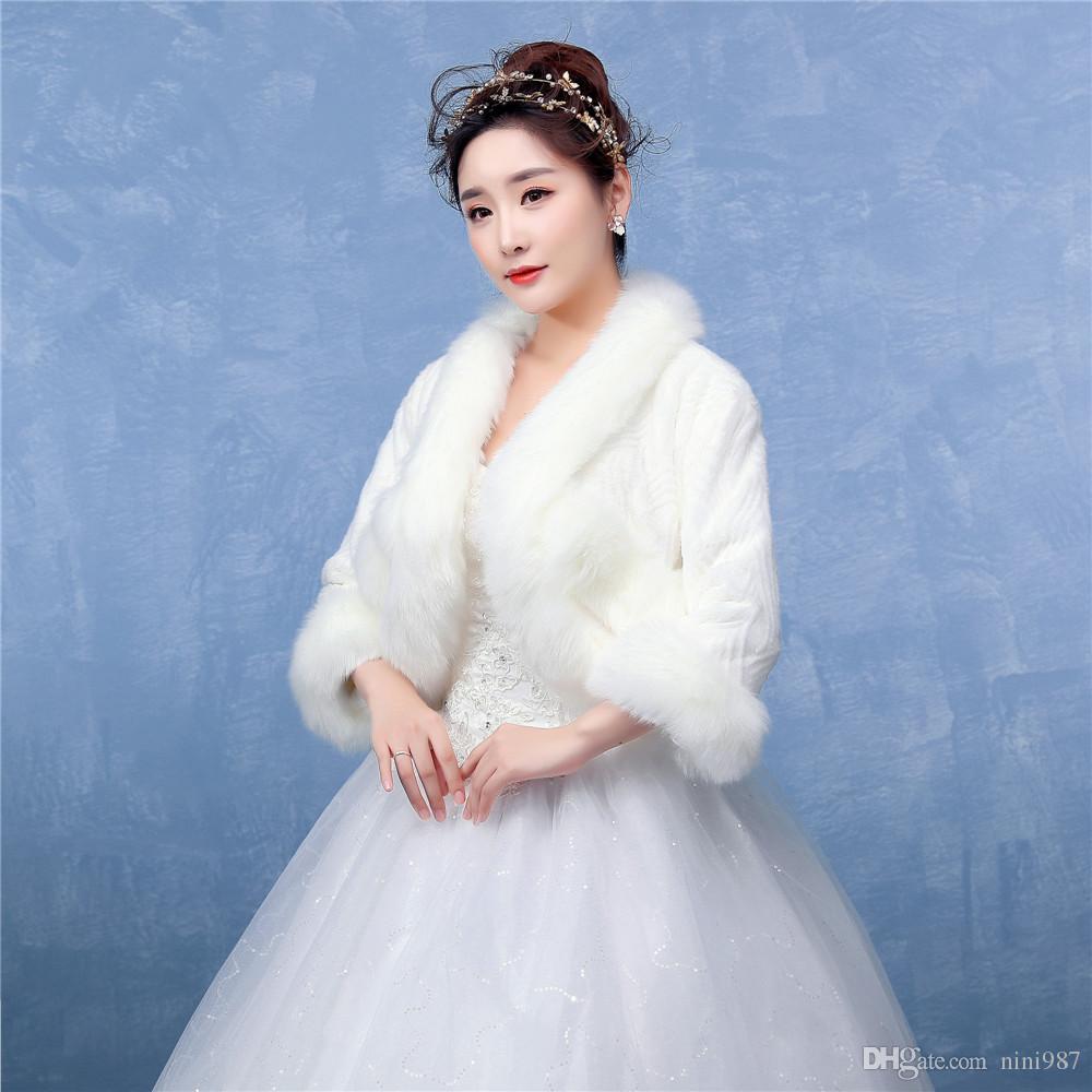 Châle en gros pour l'hiver mariage Wrap nuptiale de fourrure blanc Châle Couleur Brides Accessoires formels longue en fausse fourrure bon manteau Qualité