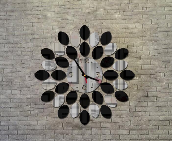 Criativa sala de estar relógio de parede moda dupla cor espelho de lótus relógio relógio