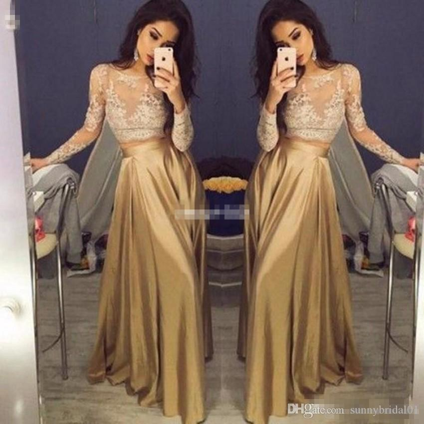 4a5b741c021 2017 Cheap Crop Top Two Piece Prom Dresses Sexy Sheer Lace Applique Jewel  Neck Long Sleeve Illusion Gold A Line Taffeta Evening Party Gowns One  Shoulder ...