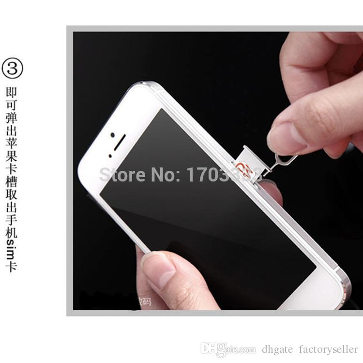 Wholesale Metal SIM Card Pin Eject Pin Tool for iphone 7 6s 5 plus 4.7 3G 3GS 4 4S 5 5S