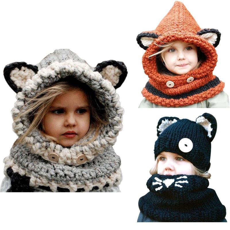 2017 New 1-7 Years Halloween Warm Baby Girls Hats Handmade Kids Winter Wind Protection Hats Wrap Fox Scarf Caps Cute Autumn Children Wool Kn